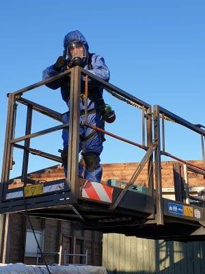 Jisperweg, asbest verwijderen met verreiker